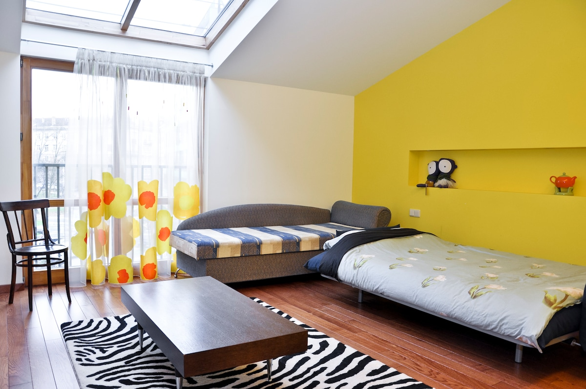 Sunny room with private bathroom