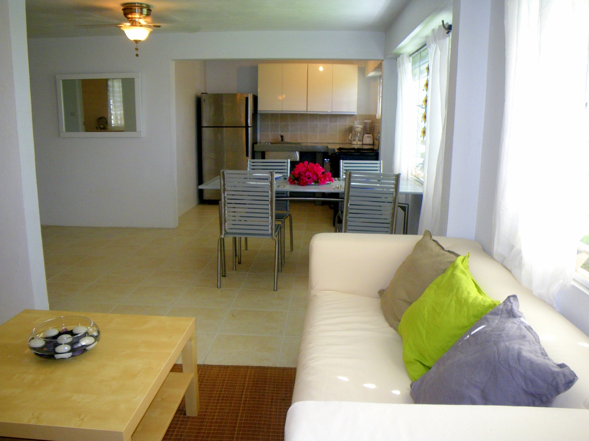 Spacious floor plan creates a large open social space - living / dining / kitchen area