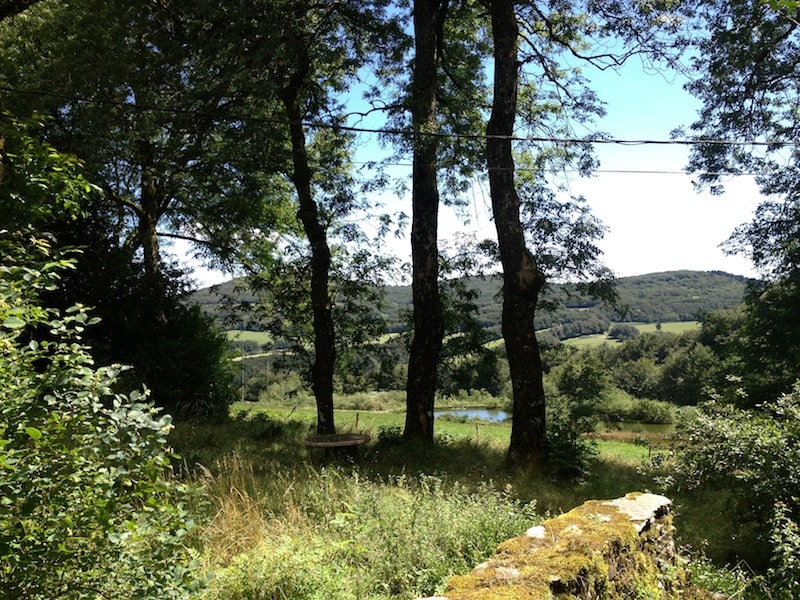View over the fields with two small lakes from the cottage.