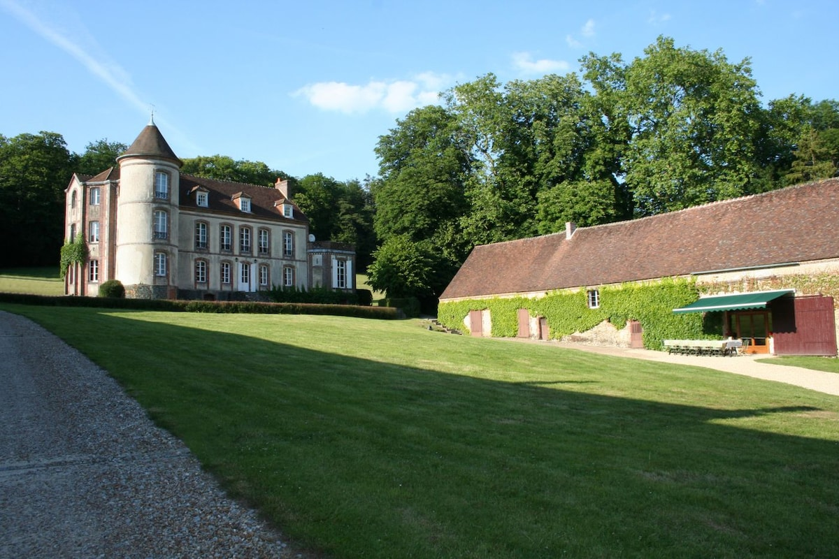 Eight bedrooms in Chateau for 16 people plus reception rooms and barn
