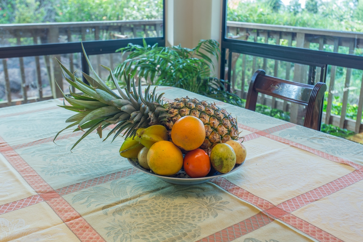 Fresh, local, and organic fruit.  Some comes from trees on the property.