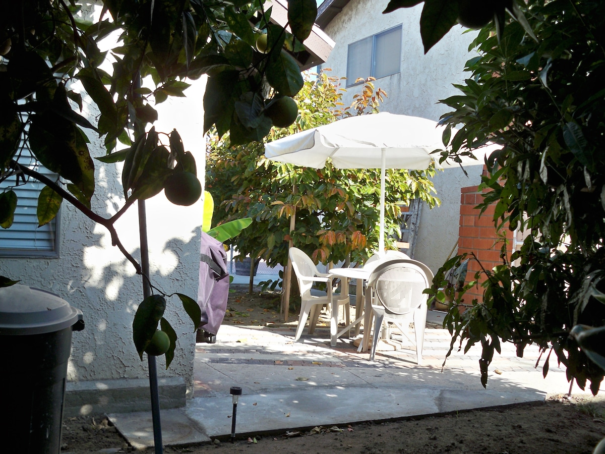 one step to your private courtyard and bbq