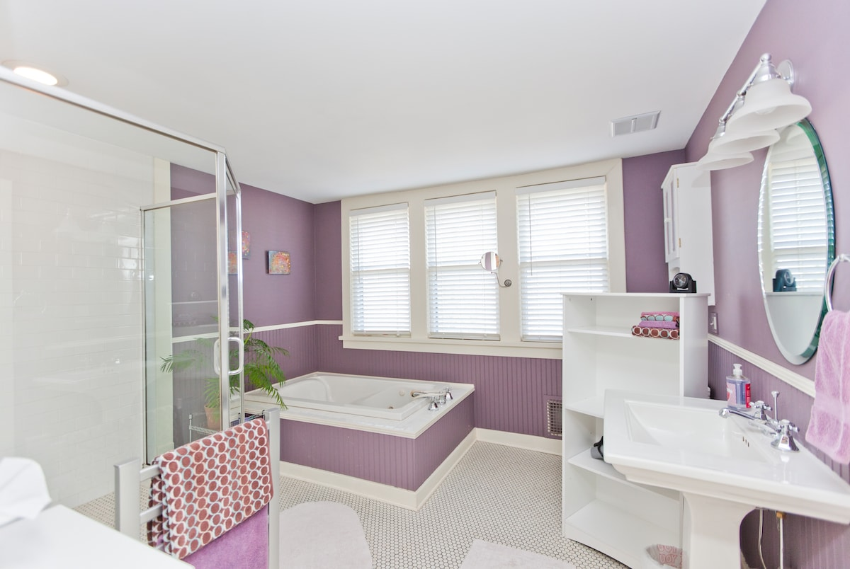 The master bath with large walk-in shower, jacuzzi tub and a heated towel rack to keep your towels warm and dry.