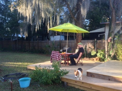 Deck in the backyard.