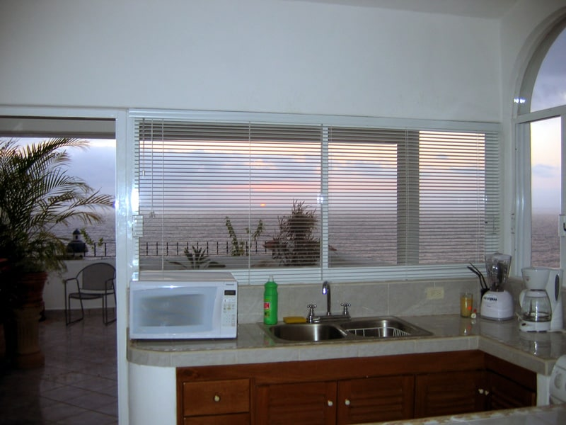 View of the sunset from the kitchen