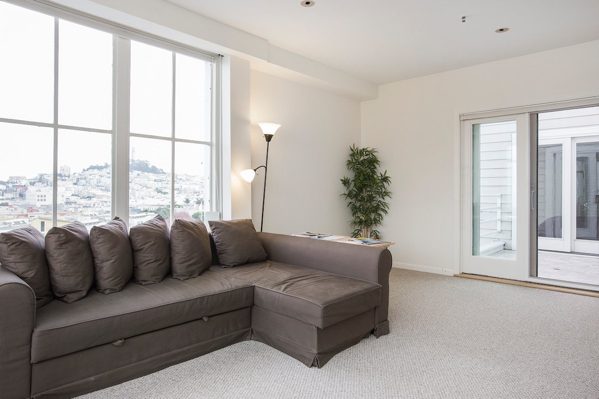 Living room with sofa bed, looking Eastward to Coit Tower.