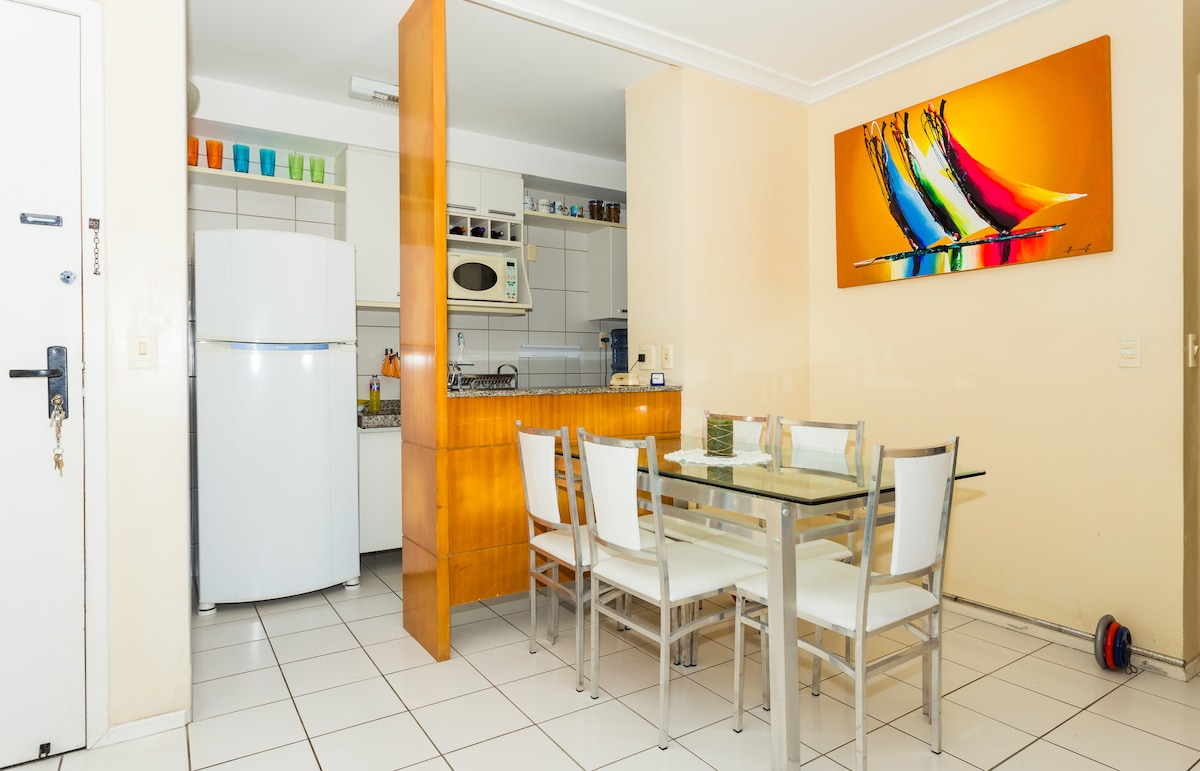 Dining room and kitchen (microwave oven, fridge, stove, etc.)