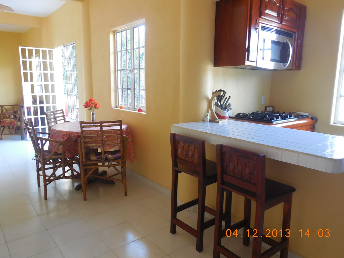 Kitchen with oven and microwave facilities
