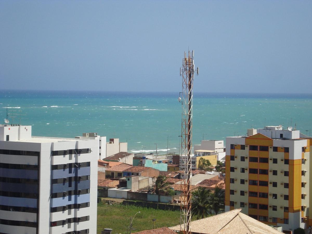 Vista da varanda do apartamento, praia de Cruz das Almas