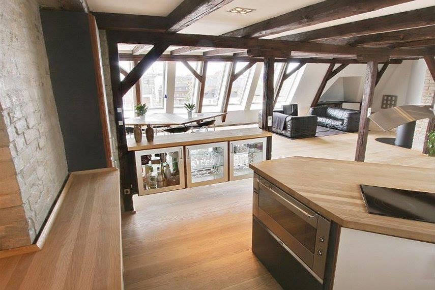 Master bedroom in penthouse loft