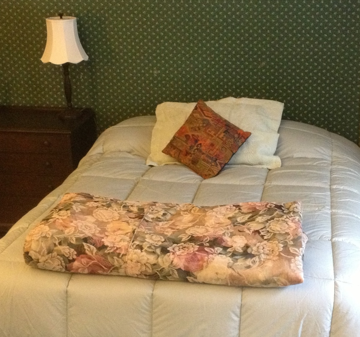 Your very comfortable queen bed - with a new mattress, new pillows, new comforter for you