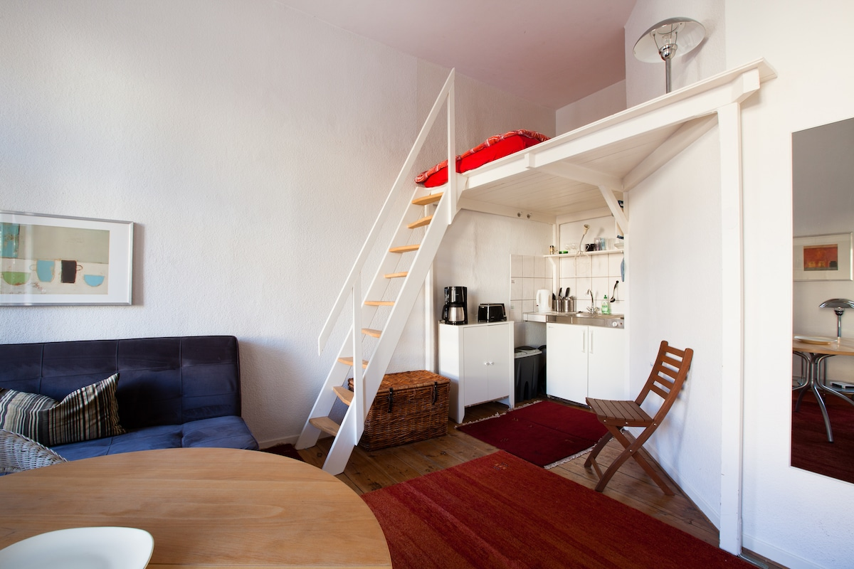Stairs to loft bed. - Very comfortable full size mattress (sleeps 2).