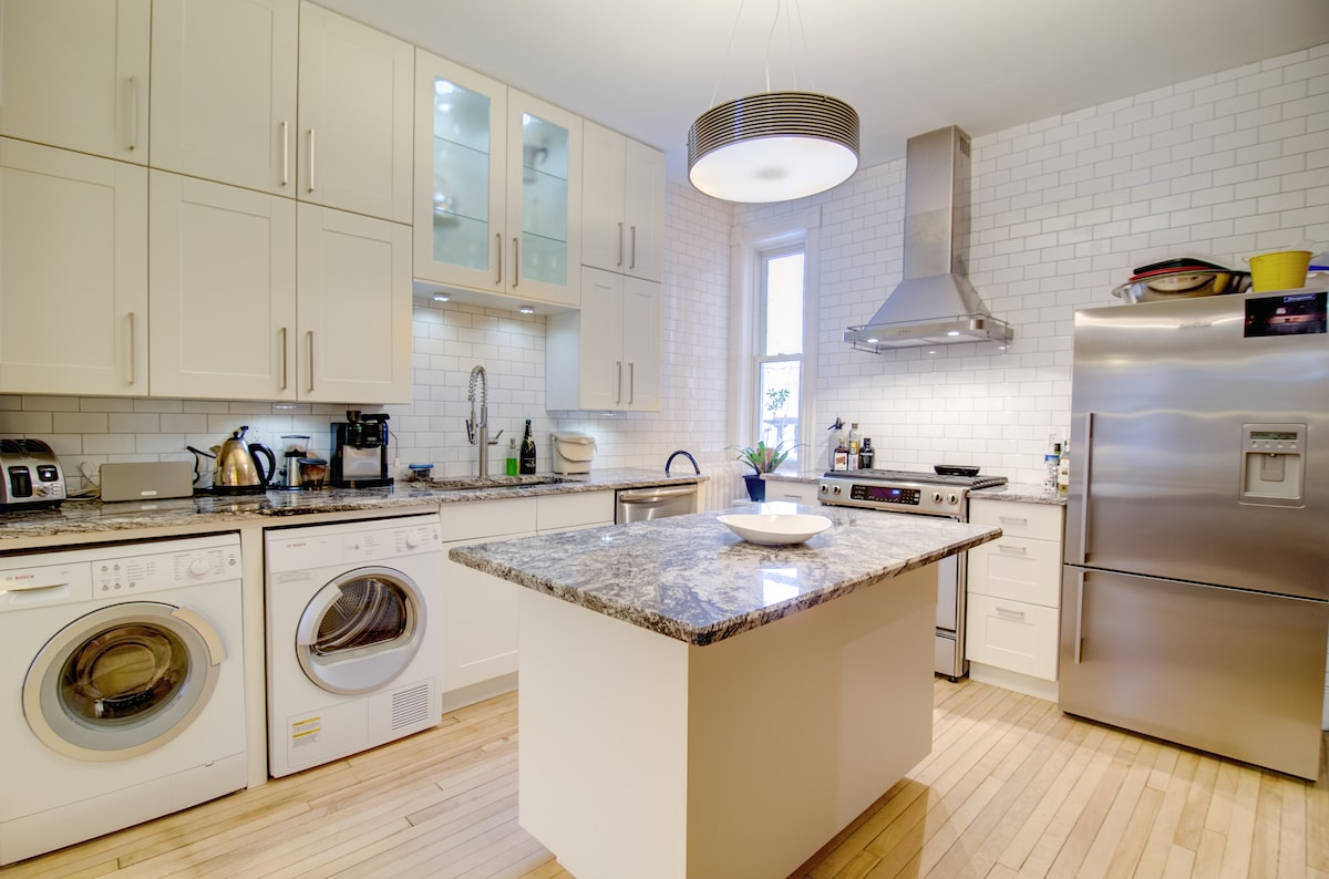 The kitchen has all modern conveniences and was renovated in 2013. Dishwasher, washer/dryer, gas stove and fridge with ice maker.