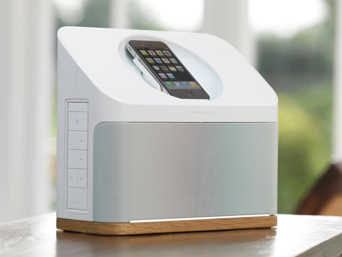 Quality Conran Audio Dock that connects via bluetooth, cable or apple connector.