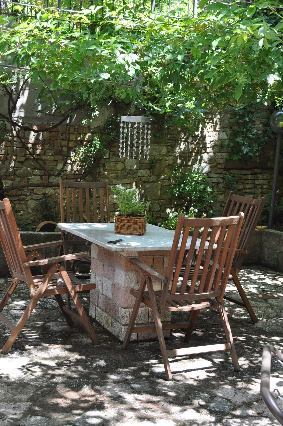 Private Garden (little garden with a big wallnut three)