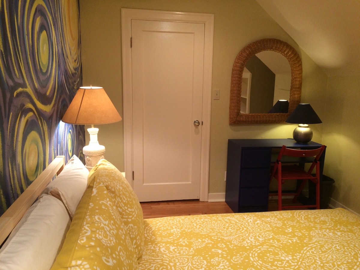 There's also a writing desk and large mirror.