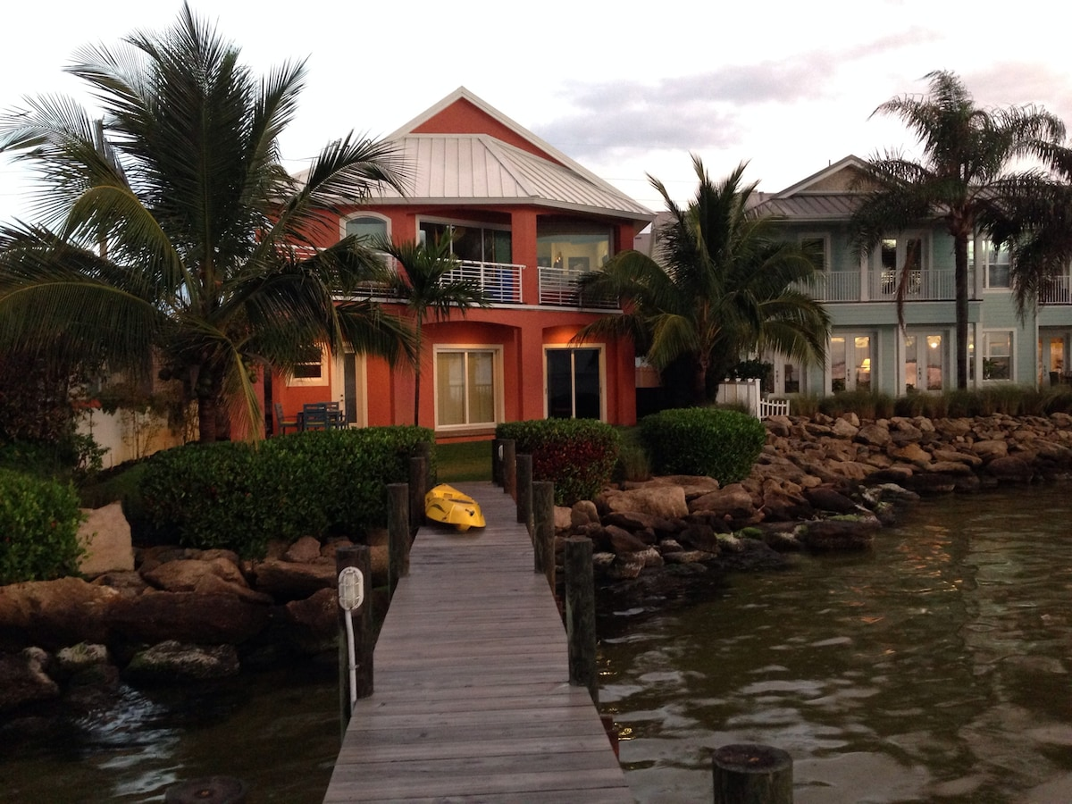 looking at the house from the dock