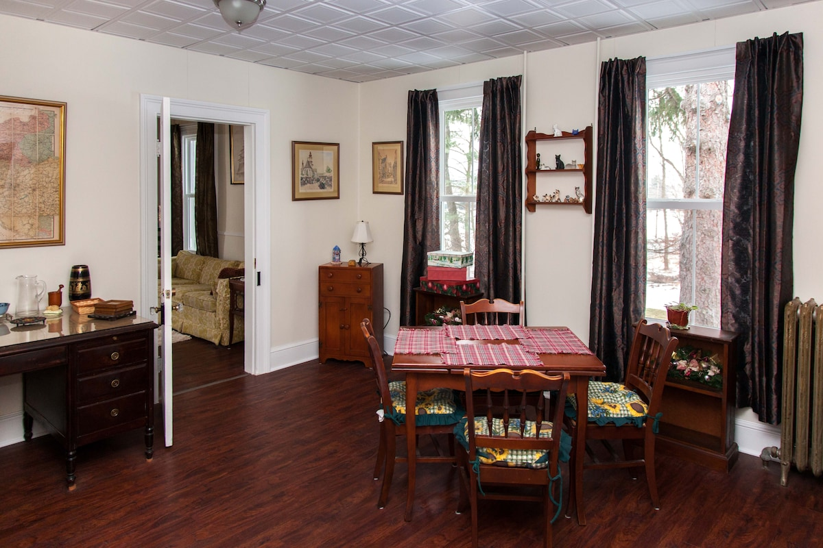 Large dining room with plenty of light