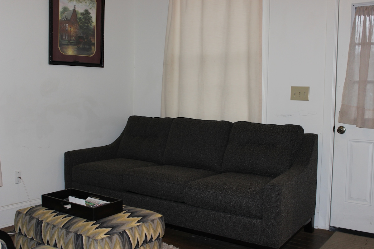 Cozy living room has QUEEN-sized Sealy Posture Pedic sleeper sofa: Since this area is small, only BUDGET-MINDED travelers should choose this option for additional sleeping.