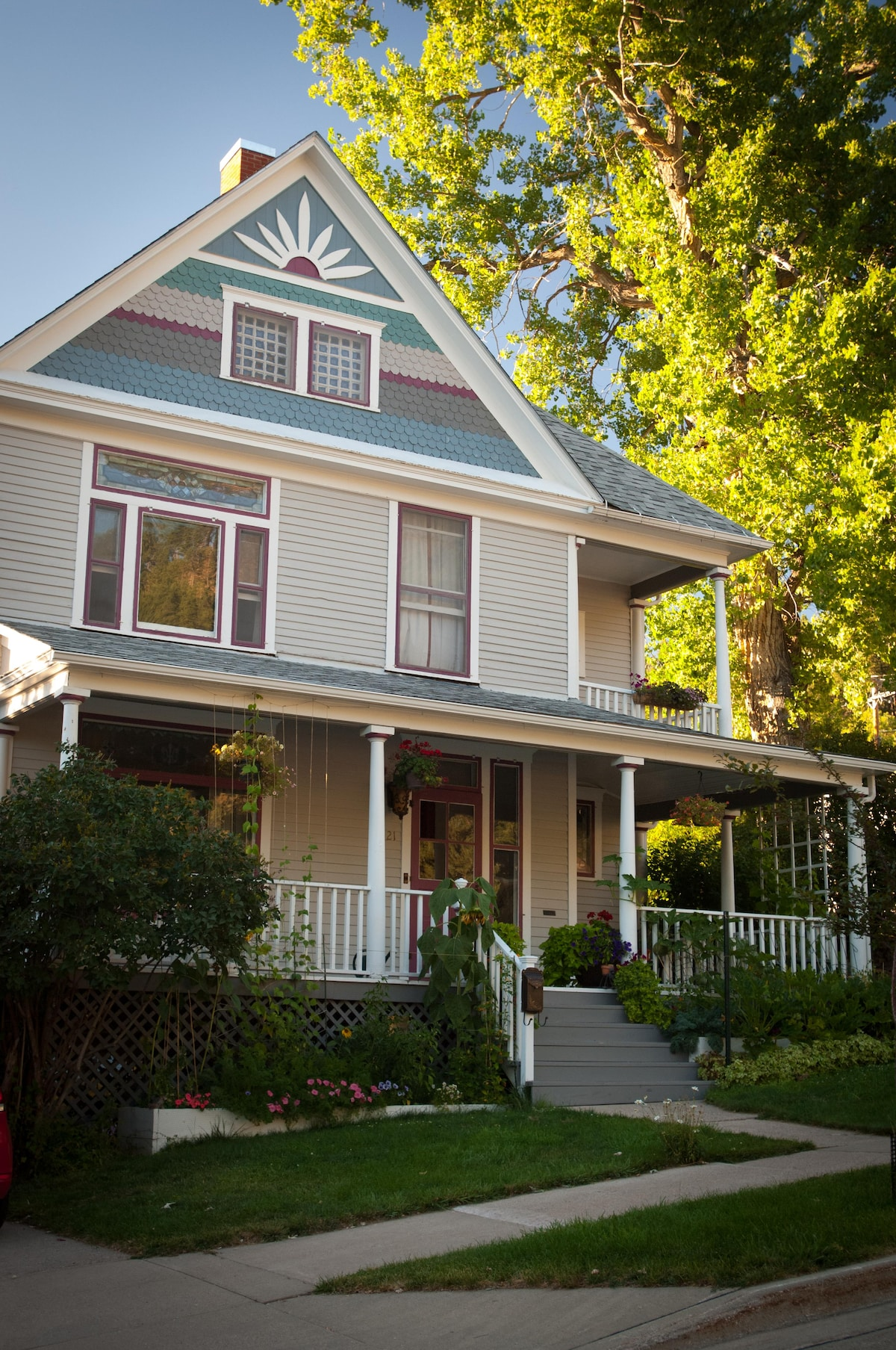 The house was designed by a local architect in the Queen Anne style.