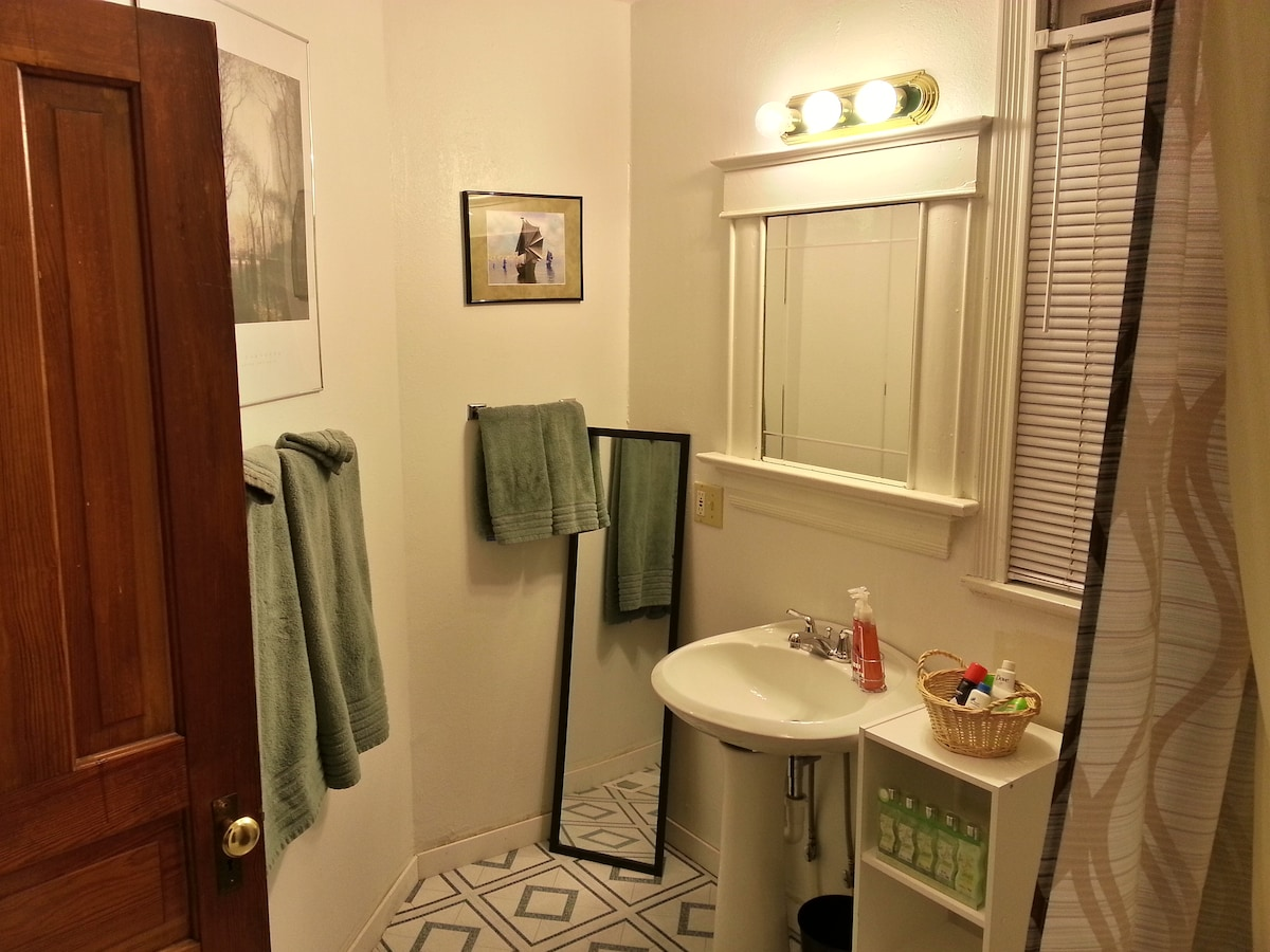 The bathroom was added to the house in the 1930s.