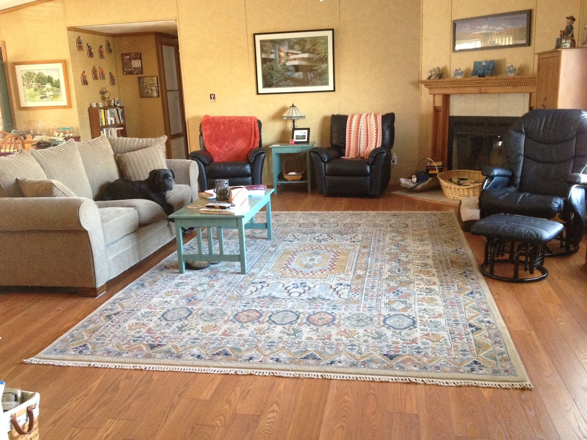 Living Room with my new Floors.... LOVE not having Carpet in my living room. Roxanne is on the couch.