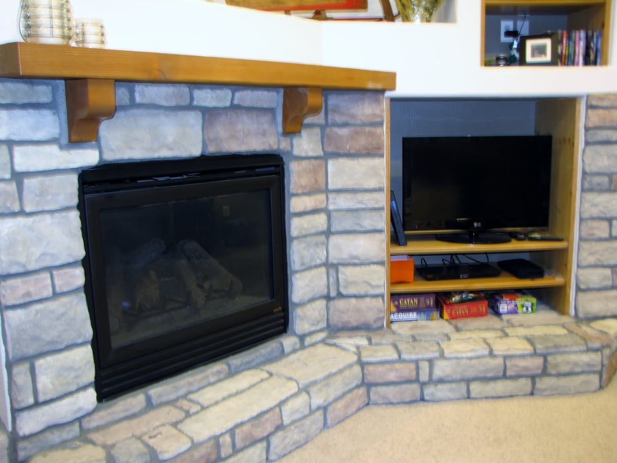 Gas fireplace and internet ready TV. Stream your favorite shows or movie.