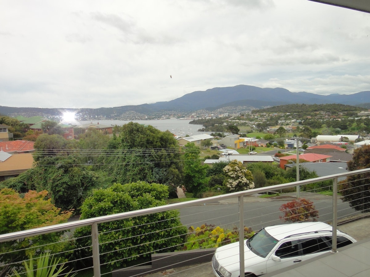 view from upstairs balcony, looking towards Hobart city