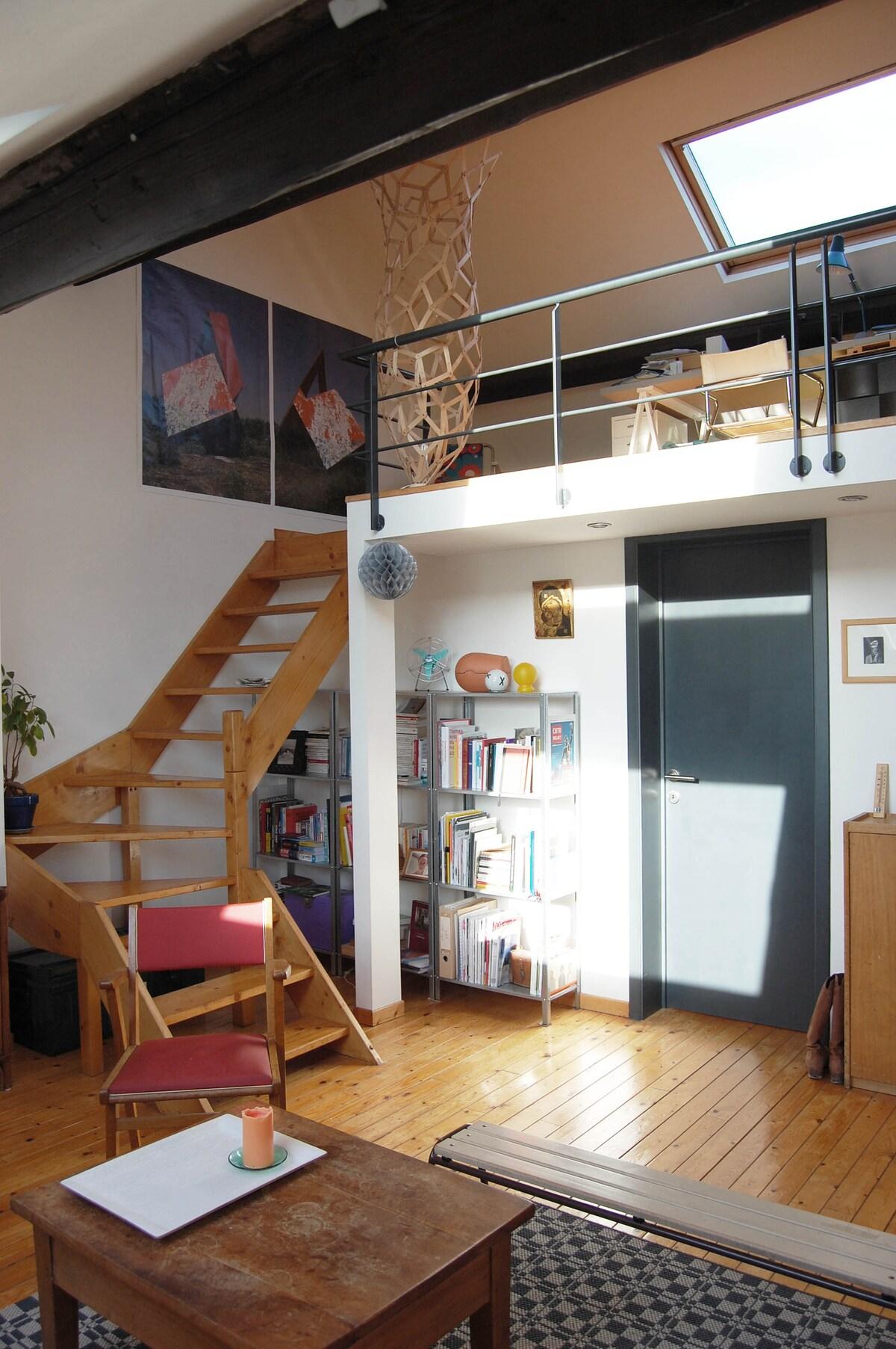 Living room, bibliothèque à disposition et mezzanine