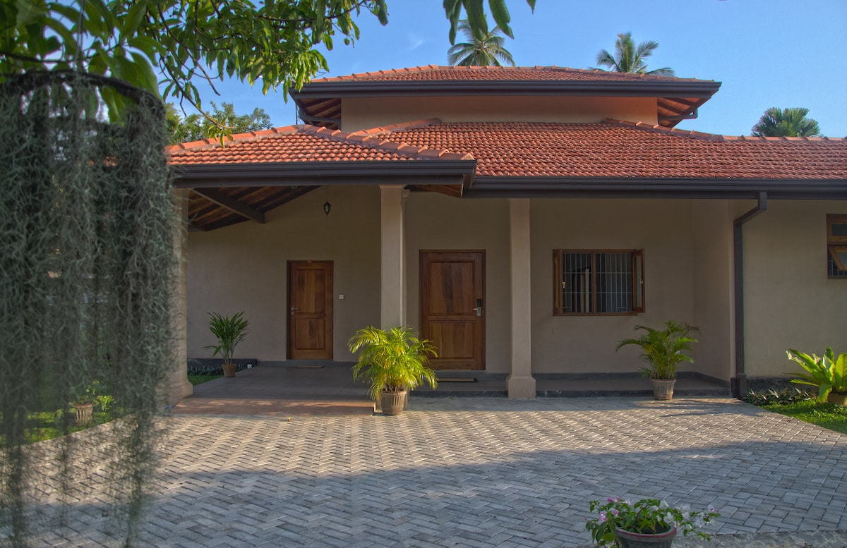 The main entrance opens out to a leafy garden with palms and mango trees