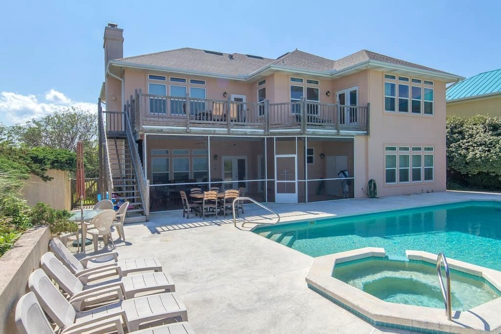 Oceanfront 5/4.5 - Huge Pool - Private Walkover!!! - St. Augustine