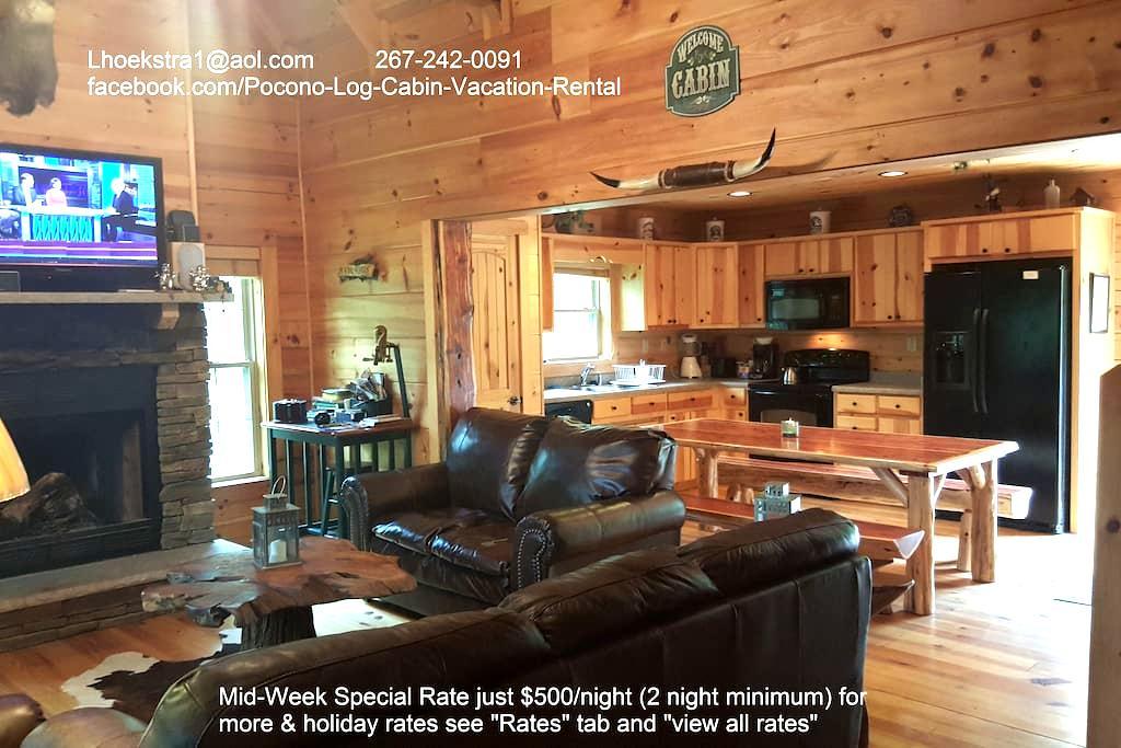 5 Bedrm Log Cabin in the Poconos - White Haven