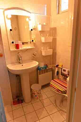 Salle de douche-toilettes Petite et fonctionnelle