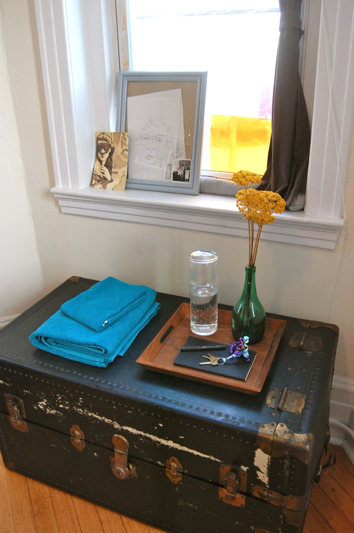 Old travel chest with some guestroom essentials.
