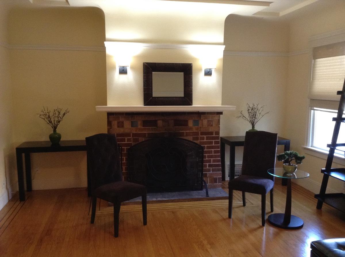 Livingroom Desks allow for separate work stations.
