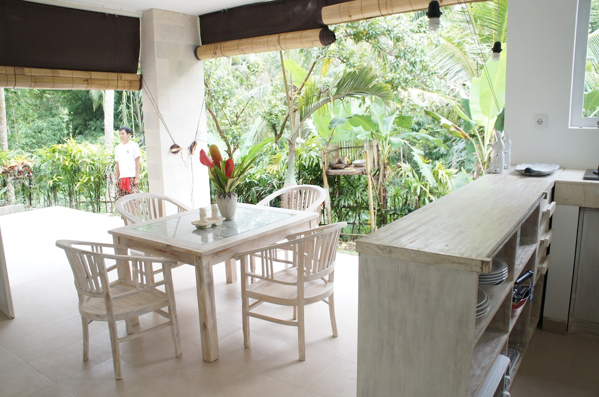 open kitchen.  close the bamboo curtain in the night.