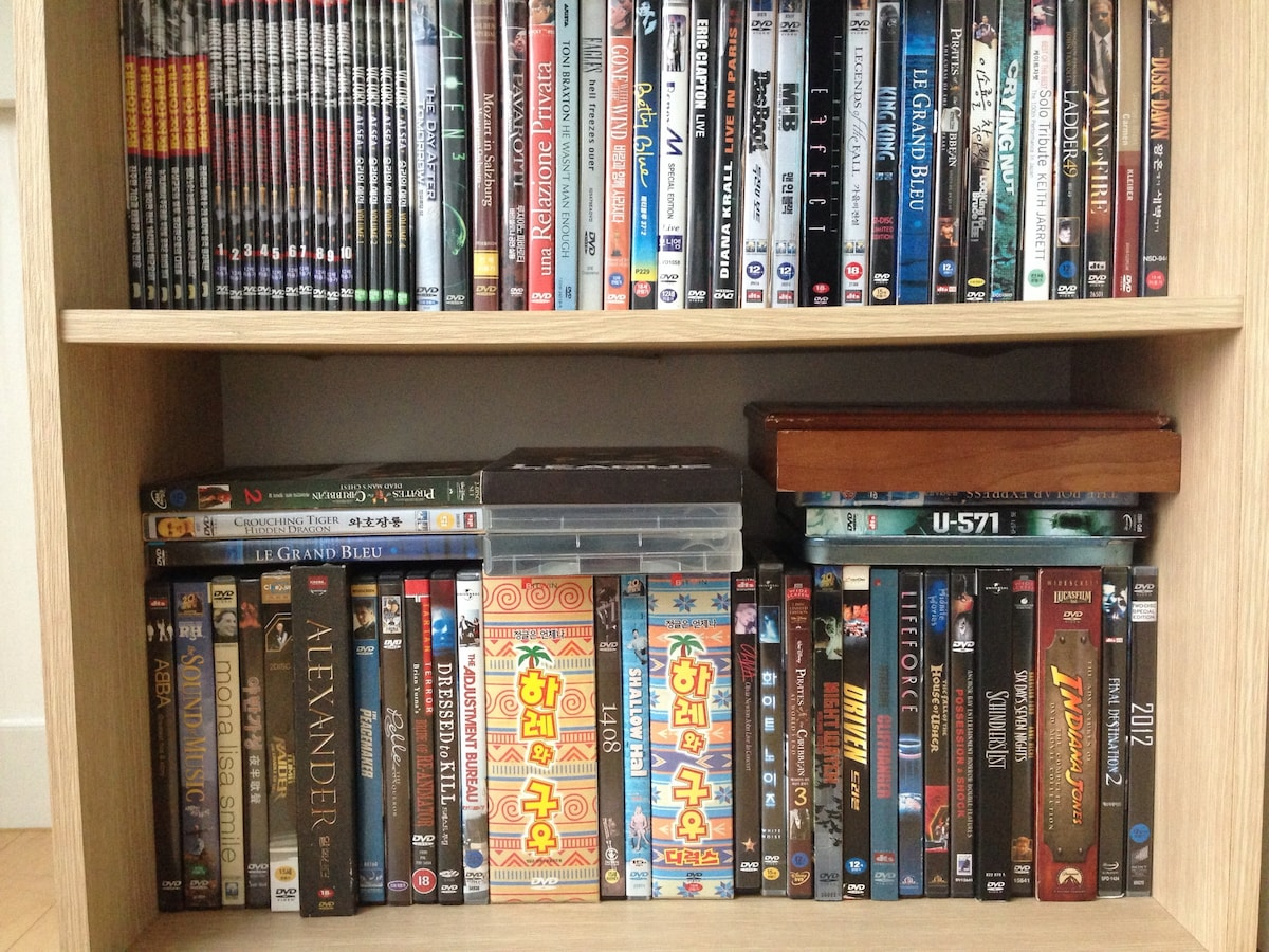 DVD title(for familiy and children) and DVD player and 80 CH of CATV.