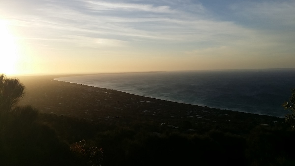 View from Arthur's Seat of the bay and sunset