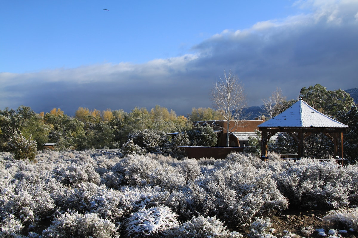 """same house with an early """"dusting"""" of snow"""