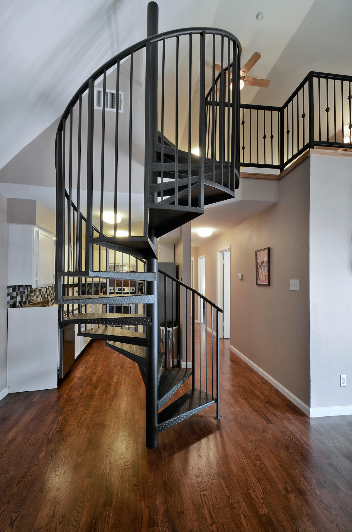 Our spiral staircase leads to the loft.