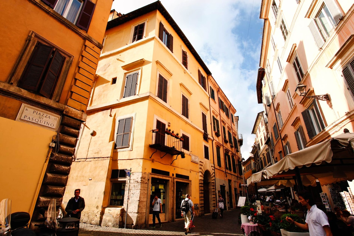 Piazza Pasquino (balcony you see in the center, yellow building, belong to apartment)