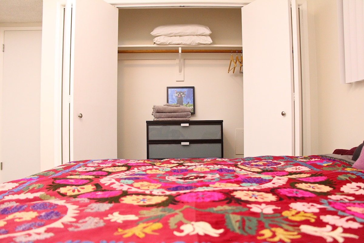 Triple wide closet space to store your things, keeping as much space clear as possible to enjoy your room and stay.