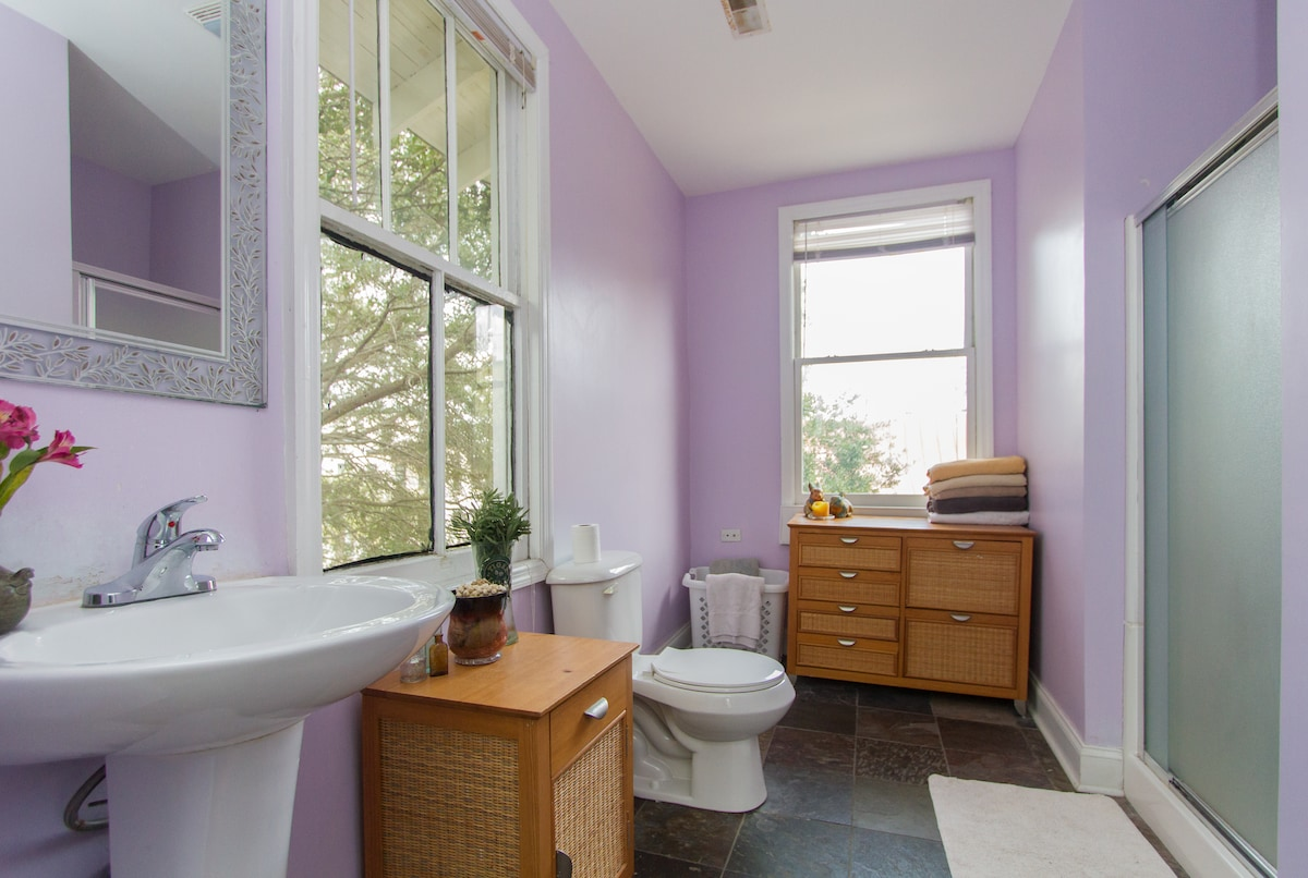 The large bathroom located upstairs.