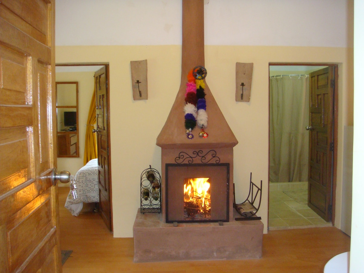 Guest Apartment. A fireplace to make your stay warm and cozy.