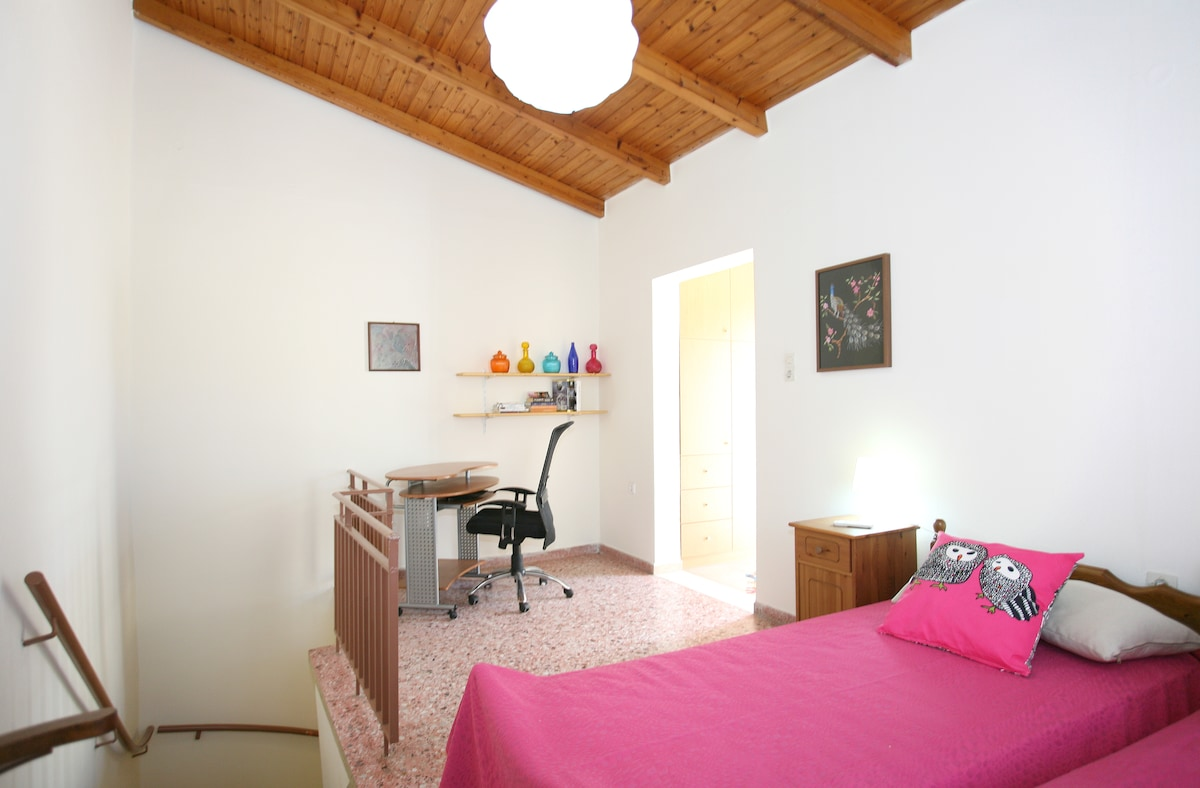 One of two bedrooms comes with a writing desk.