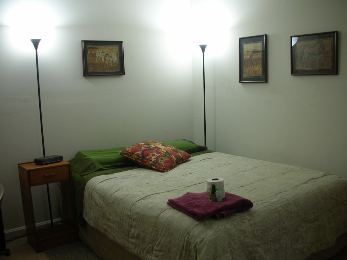 Spacious room with comfortable queen size bed, clean linens, towels, toile paper and toiletries (if needed) provided free of charge