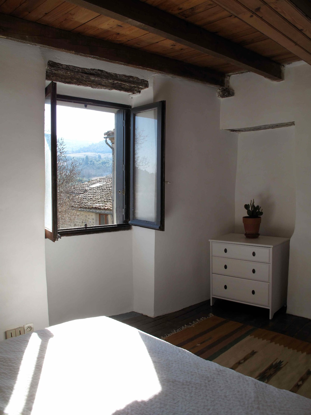 The second bedroom has a view up towards the plateau