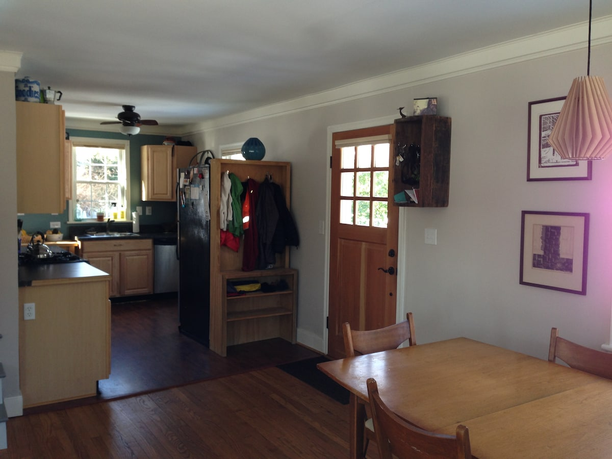 Front entry, into the dining area and kitchen.