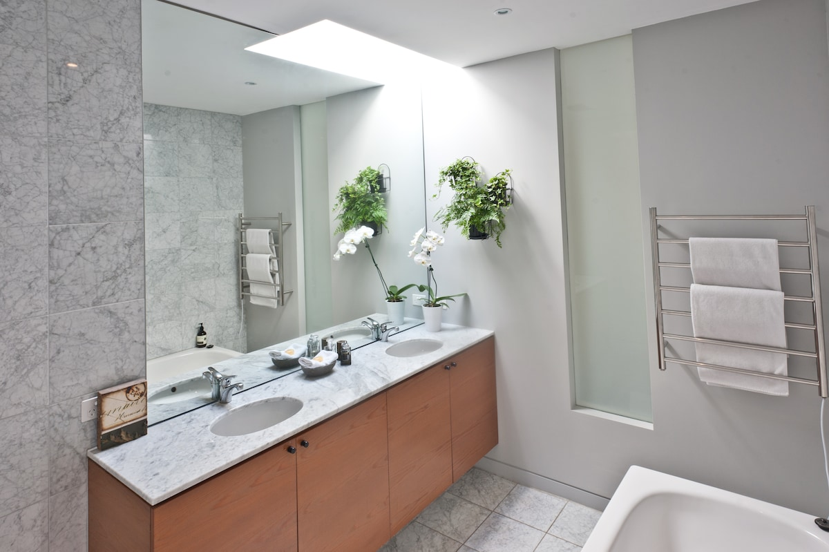 Ensuite for master bedroom with bath and shower