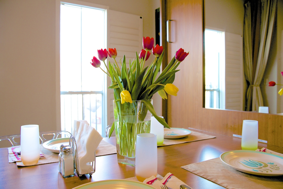 Enjoy dinner with friends at the six-person dining table.